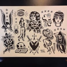 Traditional Tattoo Inspiration, Traditional Tattoo Flash, Tattoo Flash Sheet, Tattoo Flash Art, Old School Tattoo Designs, Small Tattoo Designs, Ankle Tattoo Small, Tiny Tattoo, Small Tattoos