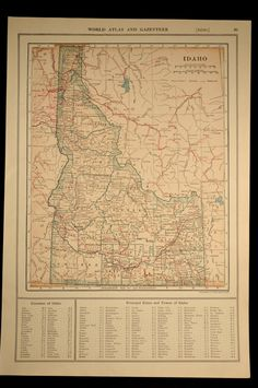 Idaho Map Antique Railroad 1920s Original