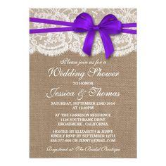 Purple Bow Rustic Burlap & Lace Wedding Shower