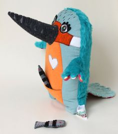 Stitched Creatures - Louis the kingfisher, plush bird including fish
