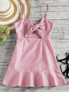 Gamiss Striped Cut Out Bow Tie Open Back Cami Dress 2018 Summer Women Beach Vacation Dress A Line Slip Sleeveless Mini Dress Cute Dresses, Casual Dresses, Casual Outfits, Girls Dresses, Cute Outfits, Summer Dresses, Casual Clothes, Red Fashion, Boho Fashion