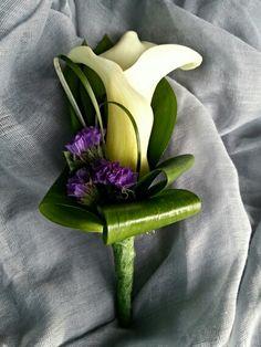 Calla lily and statice buttonhole