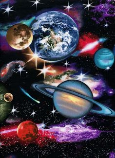 In Space Elizabeth Studios 1 yard More Available By image 3 Planets Wallpaper, Wallpaper Space, Galaxy Wallpaper, Galaxy Painting, Galaxy Art, Outer Space Facts, Space Artwork, Space Photos, Space Illustration