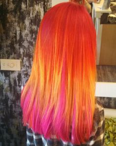 Hair like a neon sunset! Orange hair | Neon hair