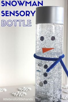 Snowman Sensory Bottle Winter Activity for Kids. Sensory calm down bottle for sensory breaks.Tap the link to check out great fidgets and sensory toys. Check back often for sales and new items. Happy Hands make Happy People! Winter Activities For Kids, Winter Kids, Christmas Crafts For Kids, Preschool Winter, Kids Winter Crafts, Children Crafts, Children Activities, Kid Crafts, Winter Crafts For Preschoolers