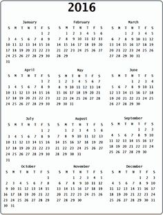 pin by printable free on 2016 yearly calendar pinterest yearly