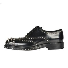 [+]  Prada Men's Black Leather Metal Studs Decorated Oxfords Shoes US 8 IT 7 EU 41;