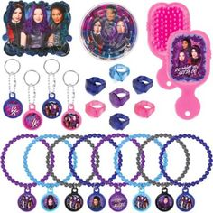 Stuff favor bags with the greatest toys from Auradon and the Isle of the Lost! The Descendants 3 Favor Pack includes maze puzzles bracelets rings stickers keychains and mini brushes! These fun plastic toys and favors feature designs and characters such as Evie Mal and Uma from the Descendants 3 movie. With everything you need for magical birthday party favor bags this value pack is perfect for a Disney Descendants birthday party. Disney Descendants 3 Favor Pack includes:  8 mini brushes 3…