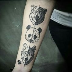 Symmetrical animal tattoo