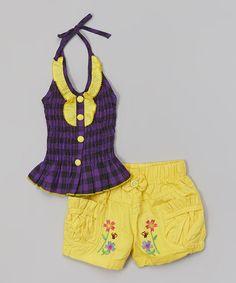 Love this Purple Plaid Halter Top & Yellow Shorts - Toddler & Girls on #zulily! #zulilyfinds