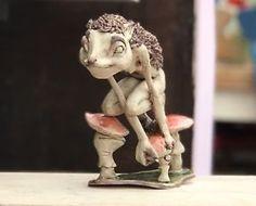 Fairy Ceramic Figurine Hedgehog Mushroom Fairy  | eBay