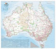 A large map of Australia that is ideal as a reference and trip planning tool, with the country's major road networks featured along with Outback fuel, distances and major national parks marked on the map. Satellite Image Map, Best Scale, Map Shop, Road Trip Adventure, Australia Map, Wall Maps, City Maps, Places Of Interest, Travel Maps