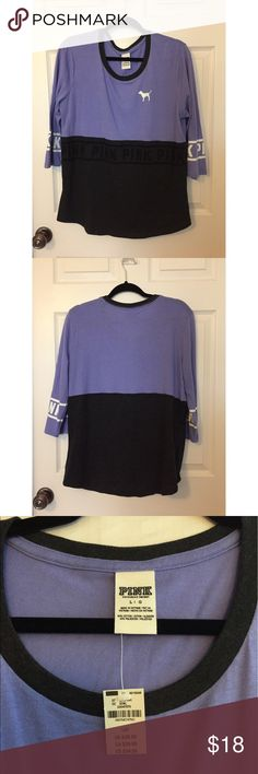 PINK Quarter-Sleeve Grey/Periwinkle Top * NEW * Never worn - Brand new with tags - Sweater like material - Quarter length sleeves PINK Victoria's Secret Sweaters Crew & Scoop Necks