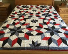 Scarlet & Gray and black Carpenter Star Patchwork quilt