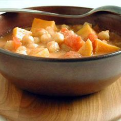 west african sweet potato and peanut soup. add coconut milk and red curry paste to the leftovers and serve over rice for a very different taste. http://www.tastebook.com/recipes/678969-West-African-Sweet-Potato-Peanut-Soup