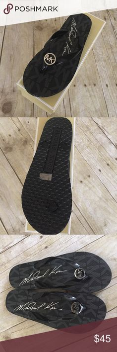 🎈ONE DAY ONLY🎈Michael By Michael Kors flip flop Michael by Michael Kors black rubber with silver MK size 8 NWT come with box KORS Michael Kors Shoes Sandals