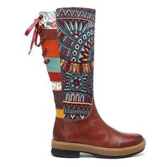 Socofy SOCOFY Bohemian Splicing Pattern Flat Leather Rainbow Knee Boots is hot-sale. Come to NewChic to buy womens boots online Mobile. Stylish Boots, Boots Online, Turquoise, Types Of Shoes, Latest Fashion Trends, Fashion 2018, Spring Fashion, Rubber Rain Boots, Knee Boots