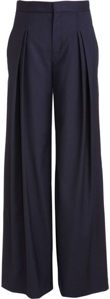 Wide leg pants. Love the front pleats.