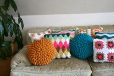 cozy crocheted pillows  via blue corduroy