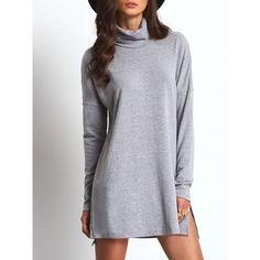 High Neck Side Slit Dress ($18) ❤ liked on Polyvore featuring dresses, grey, short dresses, short-sleeve dresses, long-sleeve maxi dress, shift dress and long sleeve short dress