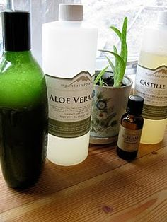 Make your own herbal shampoo:: 8 oz distilled water 2 teaspoons of dried rosemary 2 teaspoons of dried rose petals 3 ounces liquid castile soap 3 Tablespoon aloe vera gel ¼ teaspoon of jojoba oil 30 drops of pure rosemary essential oil