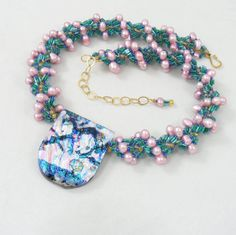Sweet Freedom Designs: Pink Pearl & Teal Spiral Necklace with Dichroic Glass Pendant.
