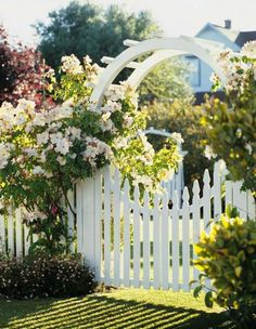 The gate curves down, as a mirrior image of the arbor to create a full circle ...I <3 it!