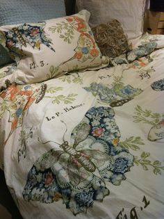 Pottery Barn Butterfly Script Duvet. I love the colors and feel like I want to buy this, but is it weird that the design has butterfly thoraxes all over it?    http://www.potterybarn.com/products/butterfly-botanical-script-duvet-cover-sham/?pkey=cqueen-duvet-covers-value