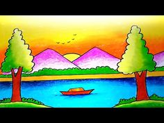 How to Draw Easy Scenery with Oilpastel || Oilpastel Scenery Drawing-Step by Step - YouTube Easy Cartoon Drawings, Easy Drawings, Art Lessons For Kids, Art For Kids, Scenery Drawing For Kids, Baby Elephant Drawing, Drawing Sunset, Oil Pastel Colours, Oil Pastel Drawings