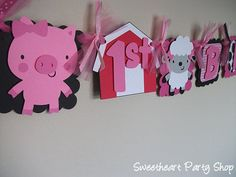 Down on the Farm Birthday Party Banner cute just no pink except the pig