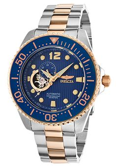 70f81972b87 Men s Pro Diver Automatic Rose 18k Gold Plated and Silver-Tone Steel Blue  Dial Modrá