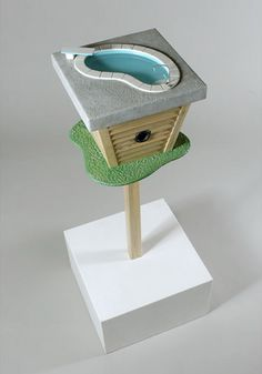Birdhouse w/birdbath!  What fun to recreate the concept... If It's Hip, It's Here: Judson Beaumont's Latest Whimsical Furniture From Straight Line Designs