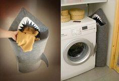Felt Shark Laundry hamper- very awesome.