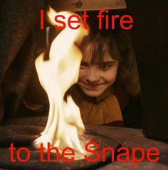 I set fire  to the Snape, watch him scream as I burn his cape. lol