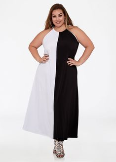 c8914e8eb1e Color Block Halter Maxi Dress Plus Size Skater Dress