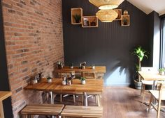 Old Watermill Brick Slips at the Craft Coffee House in Windsor Tile Samples, Furniture Diy, Furniture, Red Brick Tiles, Vintage Industrial Lighting, Wall Cladding, Feature Wall, Stone Houses, Brick Tiles
