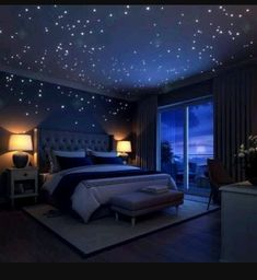 Glow In The Dark Stars Wall Stickers, 252 Dots and Moon for Starry Sky, Perfect For Kids Bedding Room or Birthday Gift, Beautiful Wall Decals by LIDERSTAR, Delight The One You Love. Bedroom Themes, Bedroom Designs, Home Decor Bedroom, Space Theme Bedroom, Geek Home Decor, Wall Decals For Bedroom, Bedroom Furniture, Bedroom Benches, Bedroom Stickers