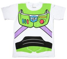 """Order this officially licensed Buzz Lightyear costume tee, and you'll be ready to travel to infinity and beyond! The white cotton t-shirt features a recreation of the """"""""Toy Story"""""""" hero's space suit."""