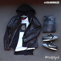 Outfit grid - Leather jacket & hoodie