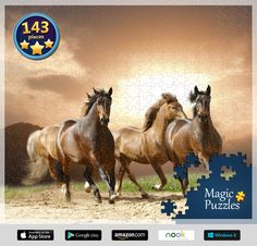 Enjoy the grace and elegance of these majestic animals with our jigsaw puzzle pack. Solve numerous puzzles solo or together with kids to watch the picture uncover astonishing stylish horses! Shop America, Image Storage, Best Buy Store, Mountain Lion, Majestic Animals, Equine Art, Horse Care, Wild Horses, Cool Things To Buy