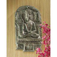 Crown of Enlightenment Calming Meditating Angkor Khmer Buddha Wall Sculpture