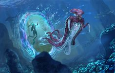 Subnautica Warper Concept I believe it's by Pat Presley http://www.phattro.com/projects Pat Presley is an awesome concept artist who works on the game Subnautica. His creature concepts have been brought to life in this game, and they feel very alien and exotic, making for an awesome experience.