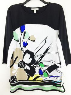 New Dana Buchman Top M Multi Floral Print Stretchy 3/4 Sleeve Knit Career Blouse #DanaBuchman #KnitTop #Casual