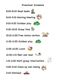 Sample Preschool Schedule  Summer Camp    Preschool