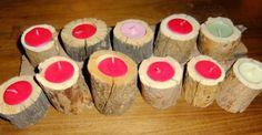 decorazioni con ceppi di legno | Portacandele con ceppi di legno