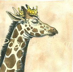 Giraffe King 8x10 hand painted print by poordogfarm on Etsy, $25.00