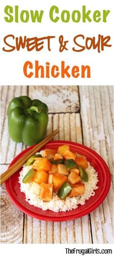 Easy Crockpot Sweet and Sour Chicken Recipe - from this asian infused Slow Cooker dinner is so simple and seriously delicious Go grab your Crock Pot slowcooker recipes thefrugalgirls Crockpot Sweet And Sour Chicken Recipe, Easy Crockpot Chicken, Sweet Sour Chicken, Slow Cooker Chicken, Easy Chicken Recipes, Dinner Crockpot, Chicken Meals, Recipe Chicken, Crock Pot Slow Cooker