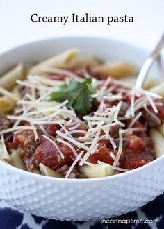 Creamy Italian Pasta on iheartnaptime.com