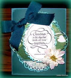 """Debbie's """"a little more"""" card with added embellishments. :: Quietfire Creations: The 9 Days of Christmas - Day 3 - Debbie"""