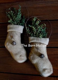 Primitive Baby Sock Ornies by TheBarnHollow on Etsy, $11.79